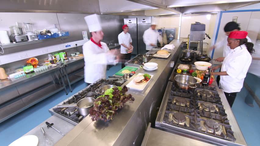 Busy Restaurant Kitchen busy chefs in restaurant kitchen stock footage video 6091676