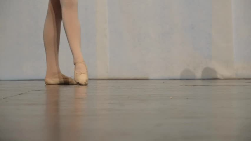Young ballerina dancing, close up on legs and shoes - HD stock footage clip