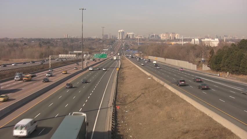 Traffic on highway 401. Toronto, Canada.  - HD stock video clip