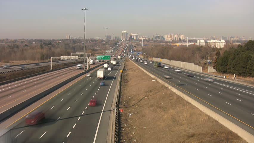 Traffic on highway 401. Timelapse. Toronto, Canada.  - HD stock video clip