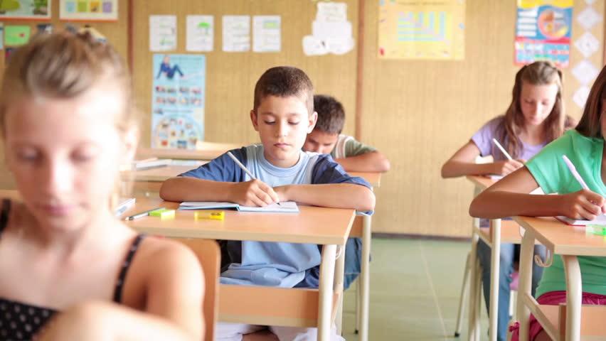 Schoolchildren in Class - HD stock footage clip