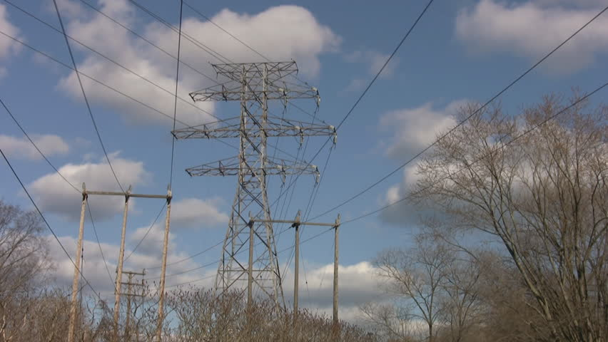 Timelapse shot of electrical pylons in the country. Ontario, Canada.  - HD stock footage clip