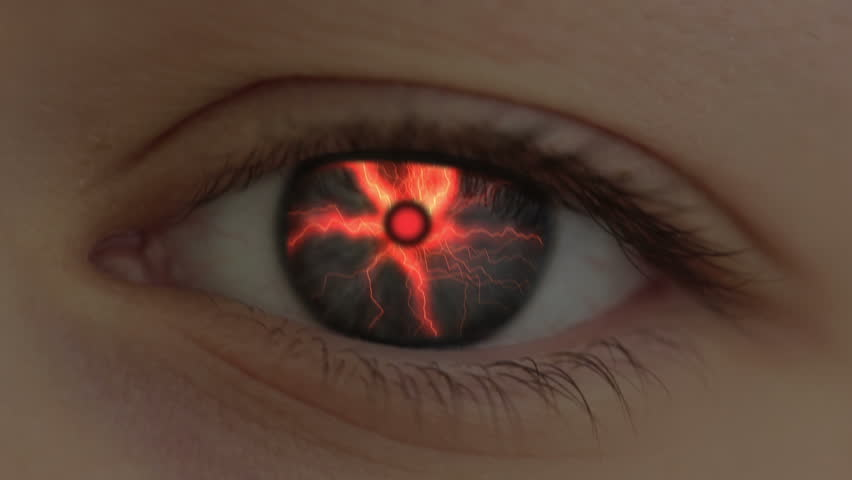 The human eye is transformed into the eye of the beast. Lightning are flashing.