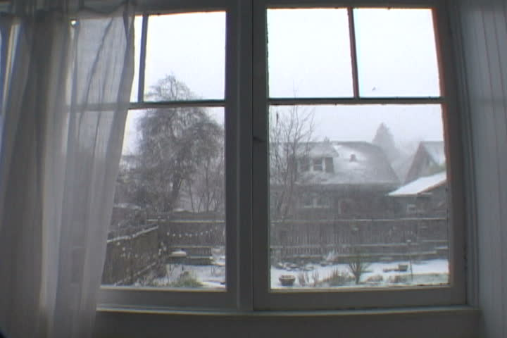 Three Clips - Portland Oregon house during snow storm. - SD stock video clip