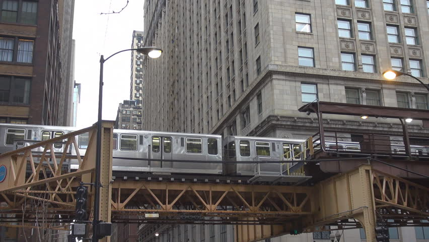 Metro train passing in downtown Chicago, Illinois, USA