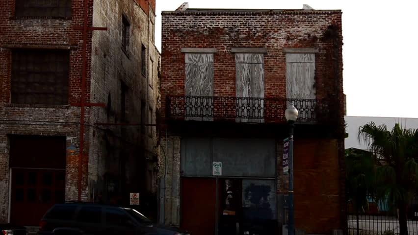 New Orleans, Louisiana -  June, 2011 - Small brick wall building along St. Joseph Street.
