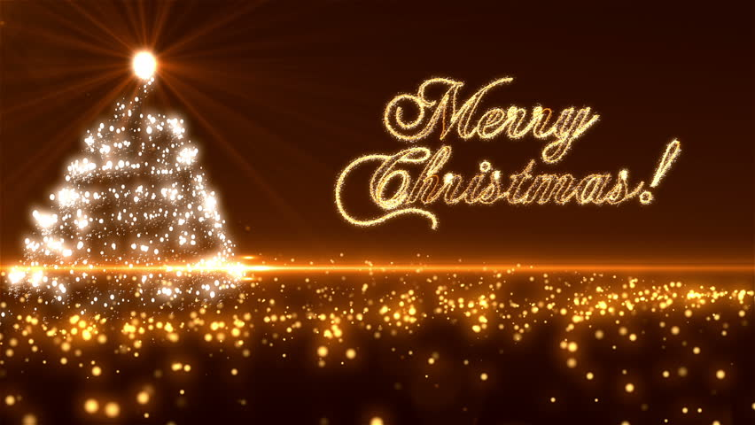 Loopable Animated Christmas Tree Background with  Merry Christmas Text Sparkling