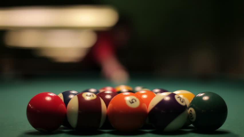Pool Spread On Billiards Table. An opening spread on a pool table. This was shot with a 50 mm 1.4 Canon lens with a Canon Mark 5D2 | Shutterstock HD Video #4032535