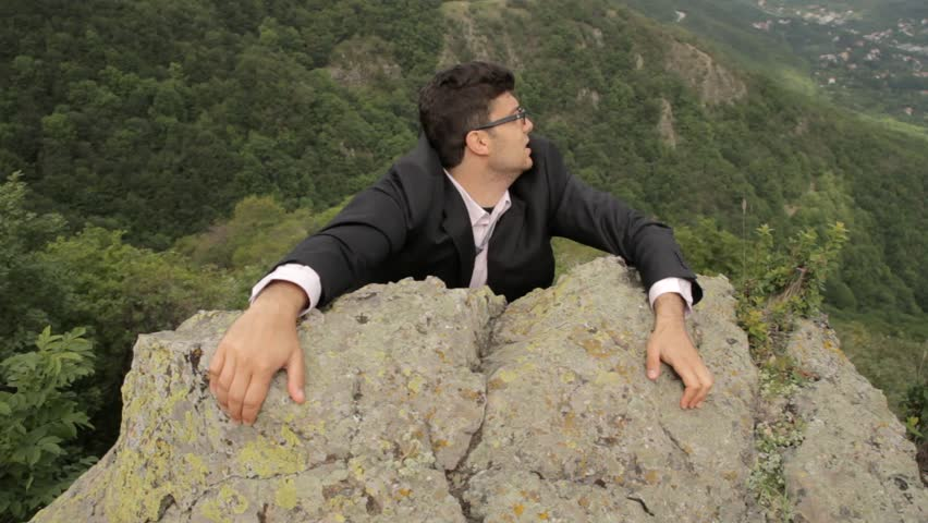 Young Businessman Hanging Danger Climbing Up Success Concept Background HD