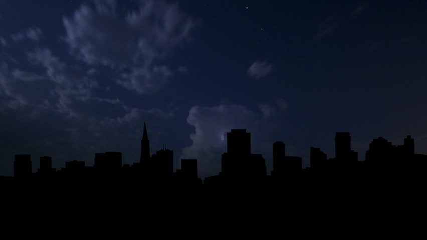 San Francisco cityscape during the night storm.   - HD stock video clip