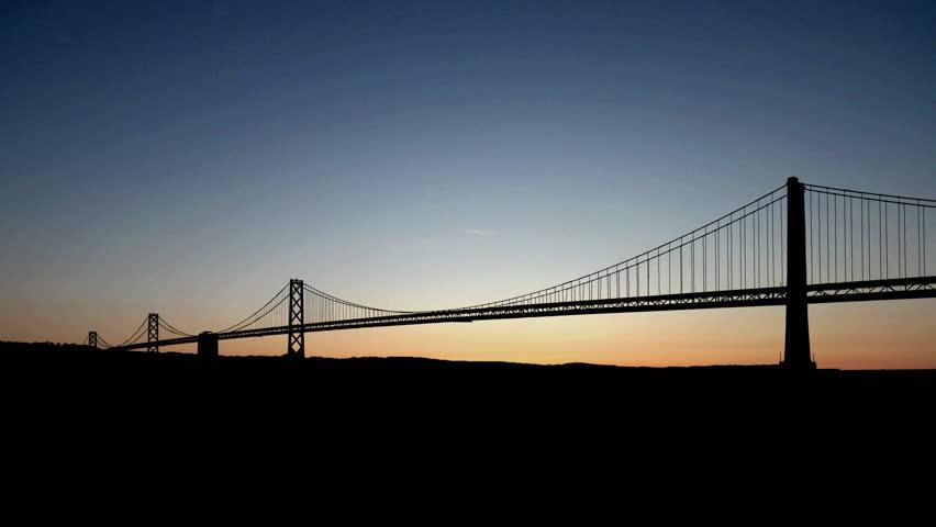 San Francisco bridge starry sunrise.