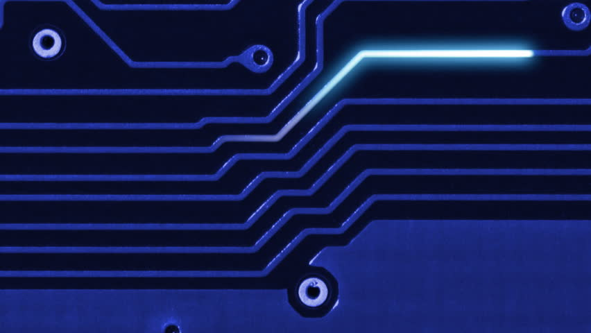 Data information flow background - Closeup of motherboard lines and glow lines animation