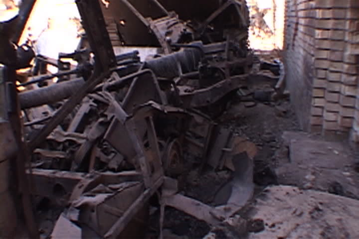 Pile of mostly metal debris from bombed building in Baghdad, Iraq.