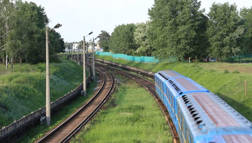 Blue train - HD stock footage clip