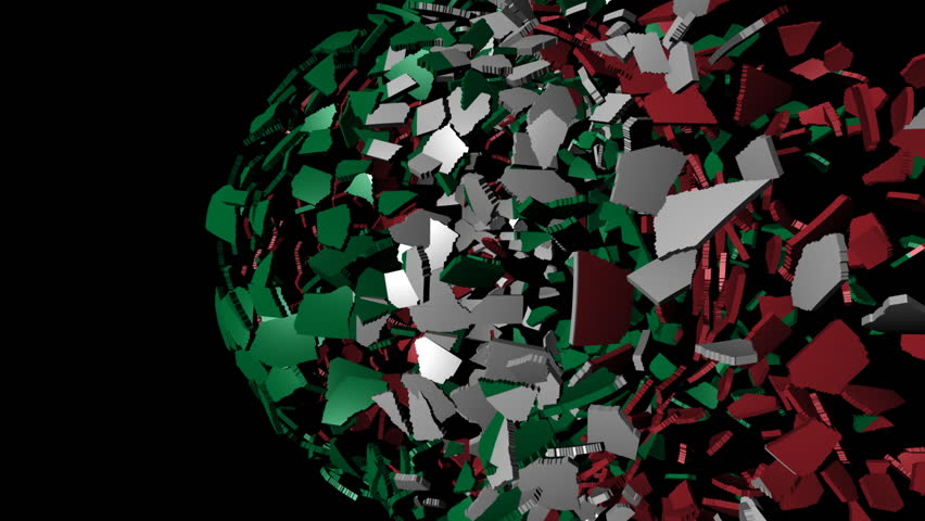 Italian flag sphere combining and breaking apart animation