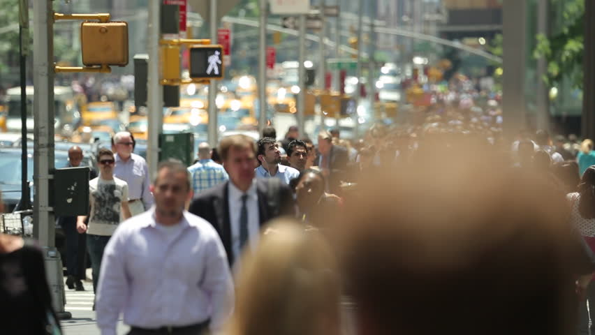 NEW YORK - CIRCA JUNE 2013: Crowd of business people walking - HD stock video clip