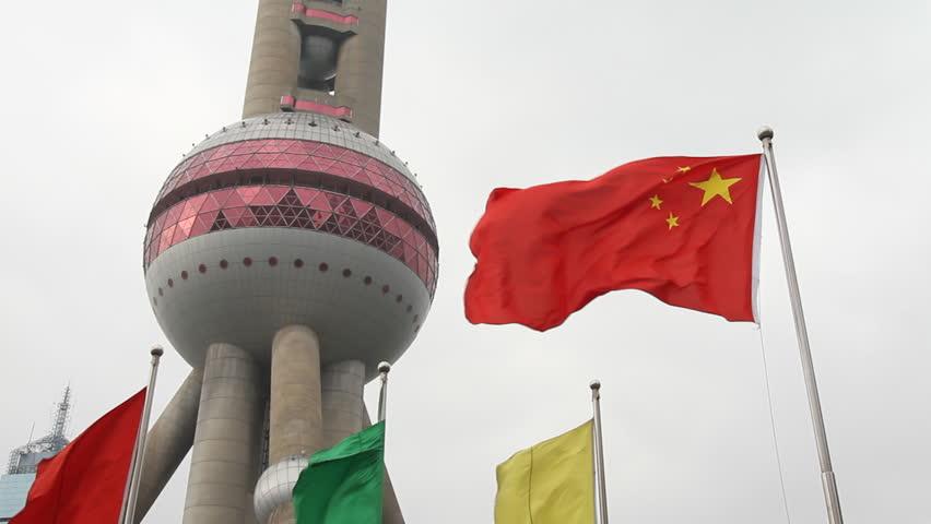 SHANGHAI - DECEMBER 17 2012 : Shanghai Oriental Pearl TV Tower and China