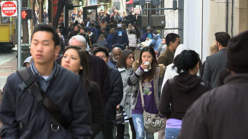 SAN FRANCISCO - CIRCA MARCH 2011: Time Lapse of Crowd in San Francisco - Circa March 2011