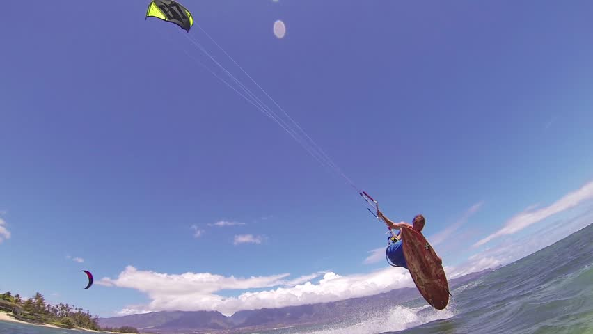 Kite Boarding, Fun in the ocean, Extreme Sport HD Video - HD stock footage clip