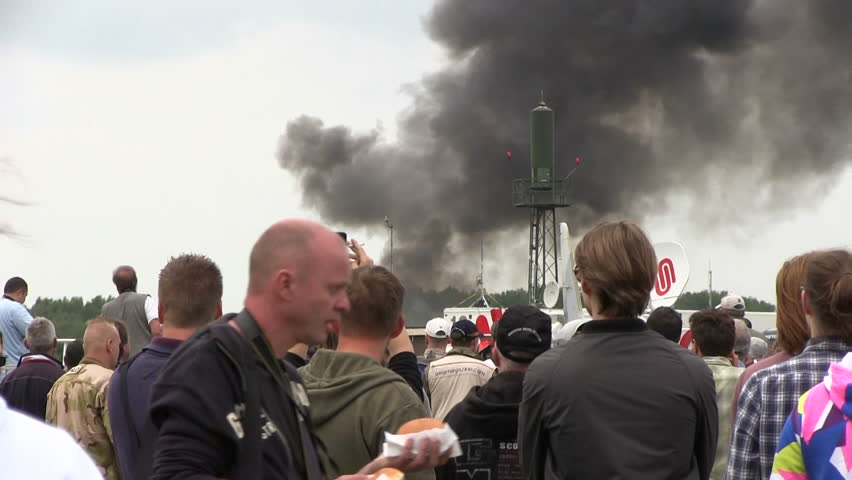 VOLKEL, THE NETHERLANDS - JUNE 14, 2013:  Explosions at airshow in Volkel 2013