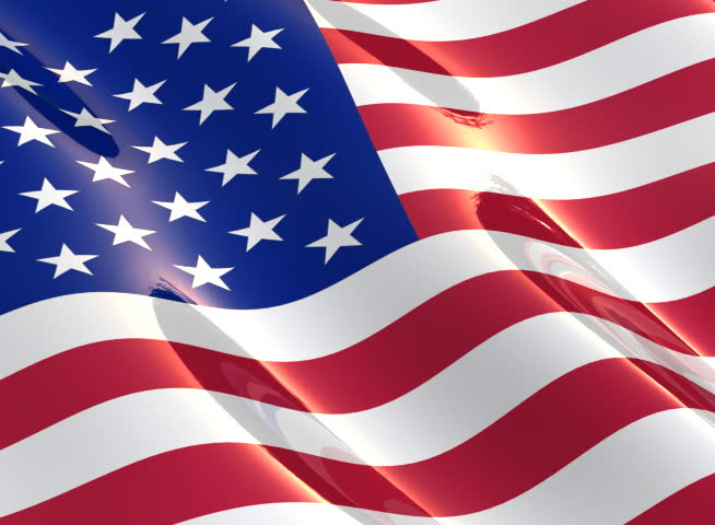 Shiny, glossy flag of the USA slowly waving in the wind - seamless loop - 4:3 aspect ratio - SD stock video clip