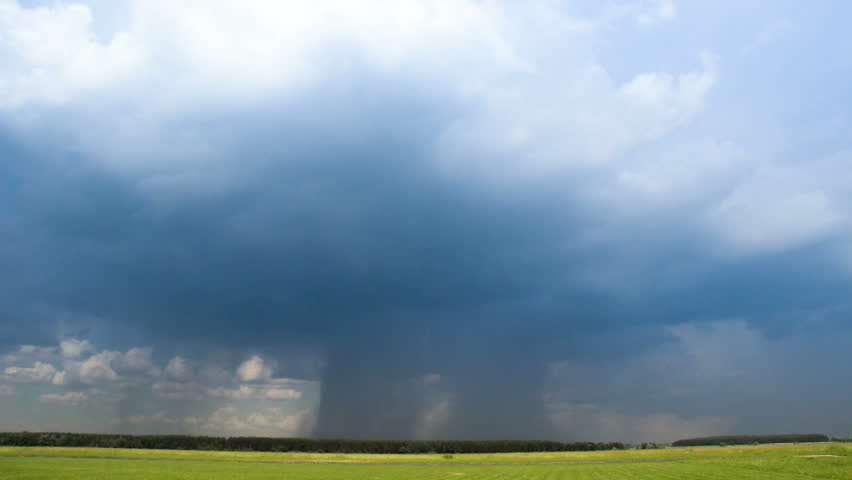 Rainy clouds in sky before thunderstorm time-lapse. Beautiful stormy landscape
