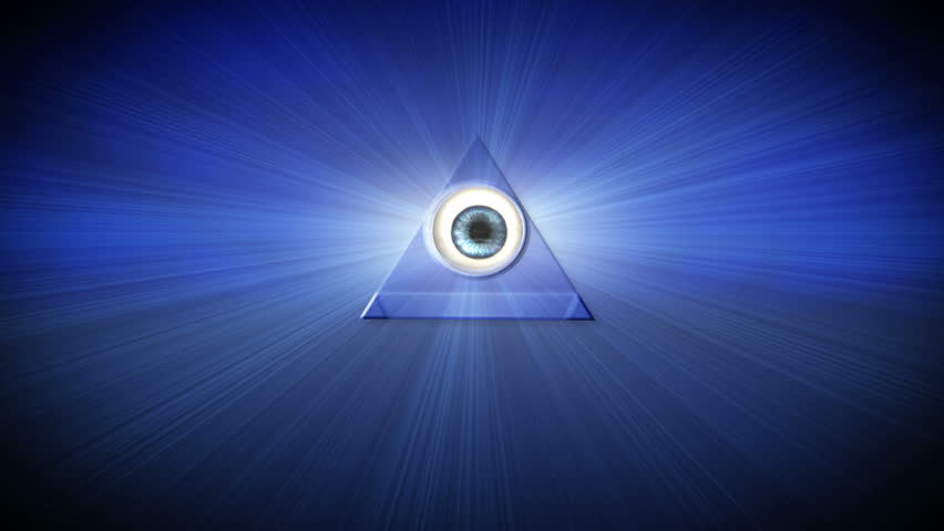 The All Seeing Eye, also known as the Eye of Providence, sees and knows all. It appears in Egyptian mythology, Buddhism and the Great Seal of the United States and is also associated with Freemasonry - HD stock footage clip
