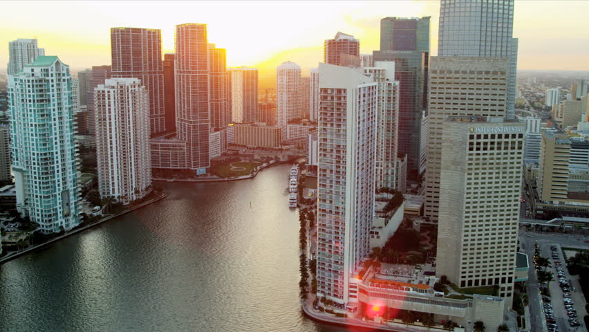 Miami - December 2012: Aerial view across Biscayne Bay towards Downtown Miami City Financial District, Florida, USA - HD stock footage clip