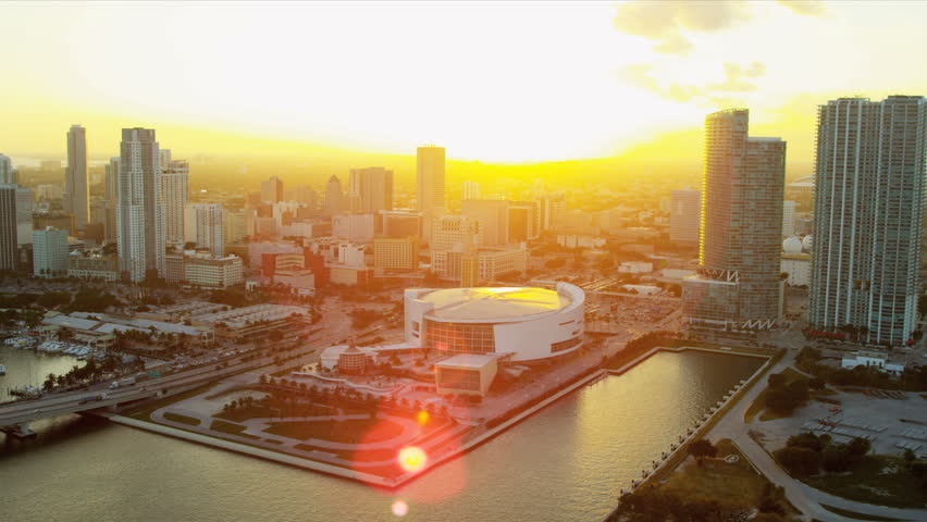 Miami - December 2012: Aerial view American Airlines Arena home to Miami Heat Basketball Team, Miami, Florida, USA, RED EPIC - HD stock footage clip
