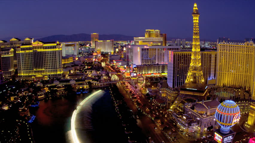 Illuminated Eiffel Tower nr illuminated Bellagio fountains, Las Vegas Blvd., USA | Shutterstock HD Video #4206559