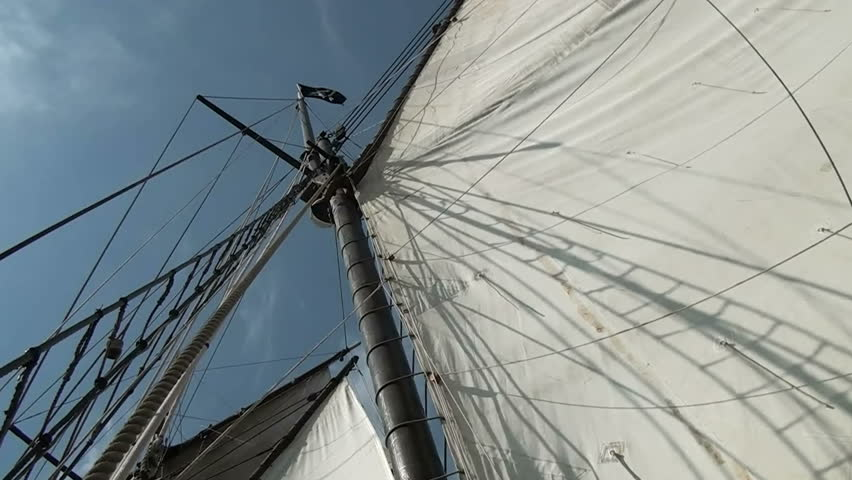 Nautical vessel - Sailboat mast - Part 3  / Nautical vessel - A sailboat mast seen from below - Pirate sail ship - Video high definition - HD stock video clip
