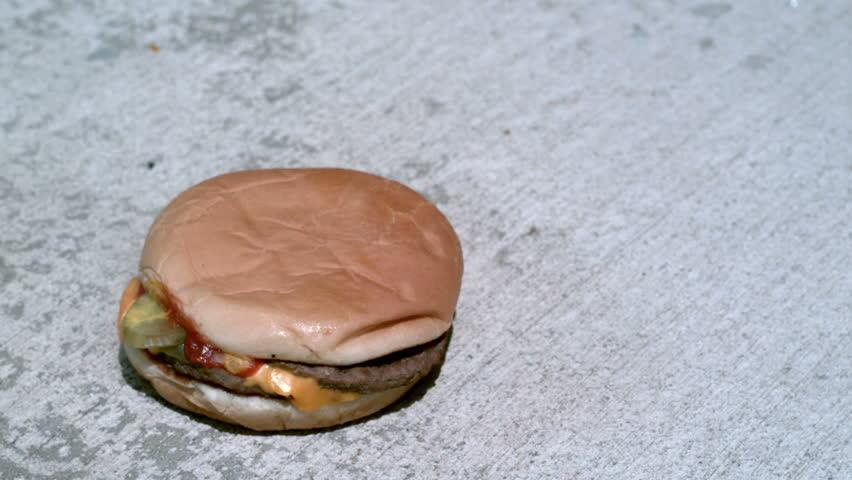 Hamburger Exploding into pieces