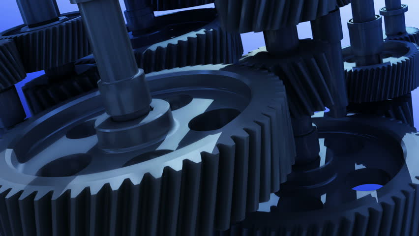 Industrial mechanism with rotating gears - animated loop | Shutterstock HD Video #4228627