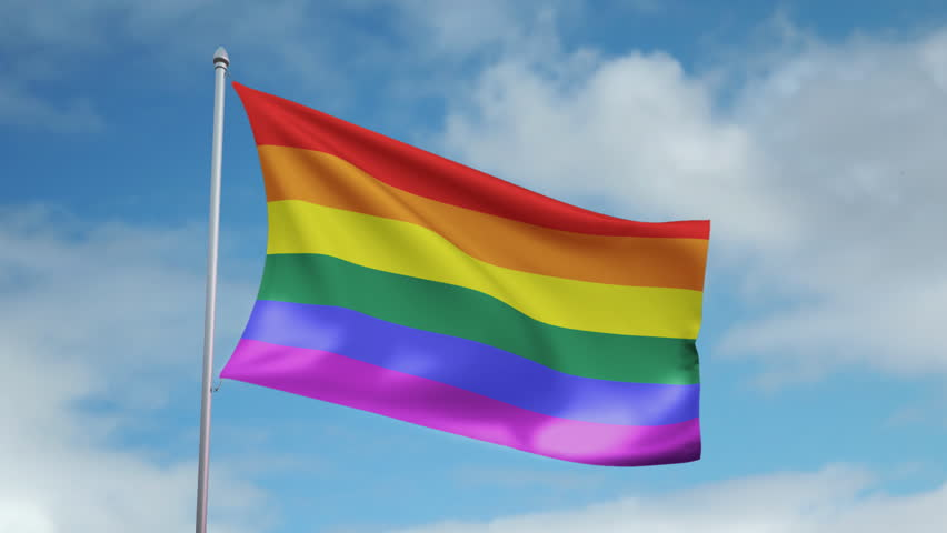 Waving a rainbow flag Gay Pride