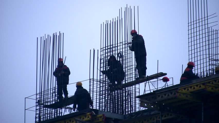 Building house and group worker  - HD stock footage clip