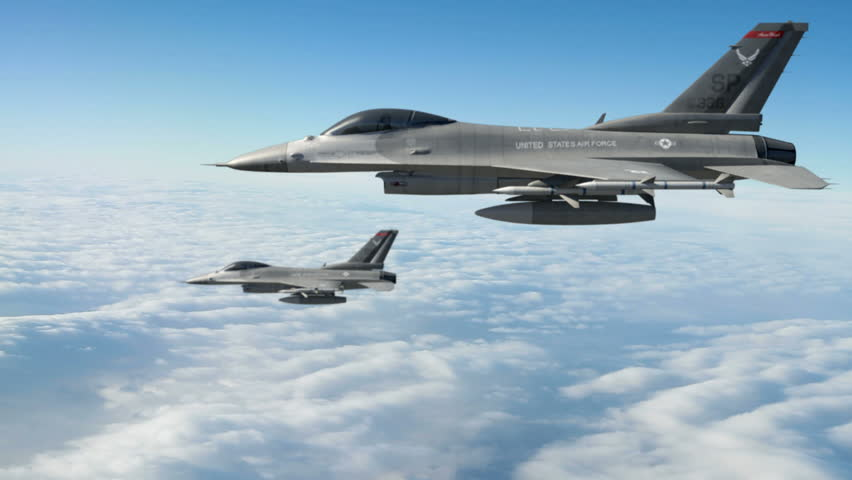 F-16 Fighting Falcons.  F-16 Fighting Falcon is a U.S. single-engine multirole fighter aircraft.  High-quality production ready 3d animation created in Maya Autodesk.