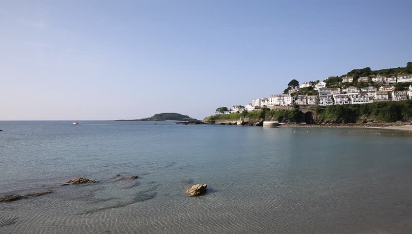 Looe beach Cornwall England beautiful Cornish town on a sunny day
