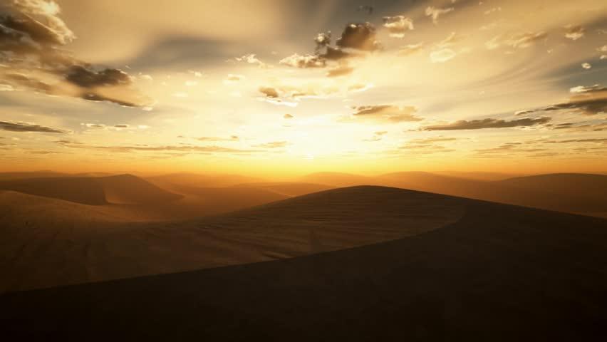 desert sunset flight - HD stock video clip