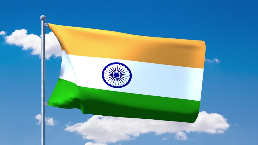Indian Animated Flag Waving: Flag Of India Waving In The Wind Against Blue Sky. Three