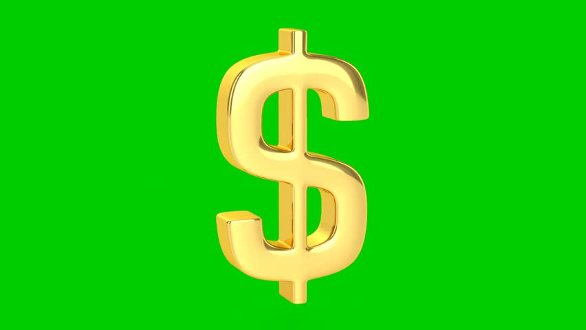 Golden Dollar Sign - Isolated - HD stock footage clip