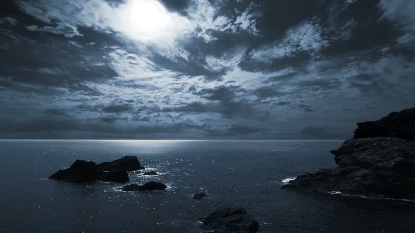 Full moon night seascape/landscape.