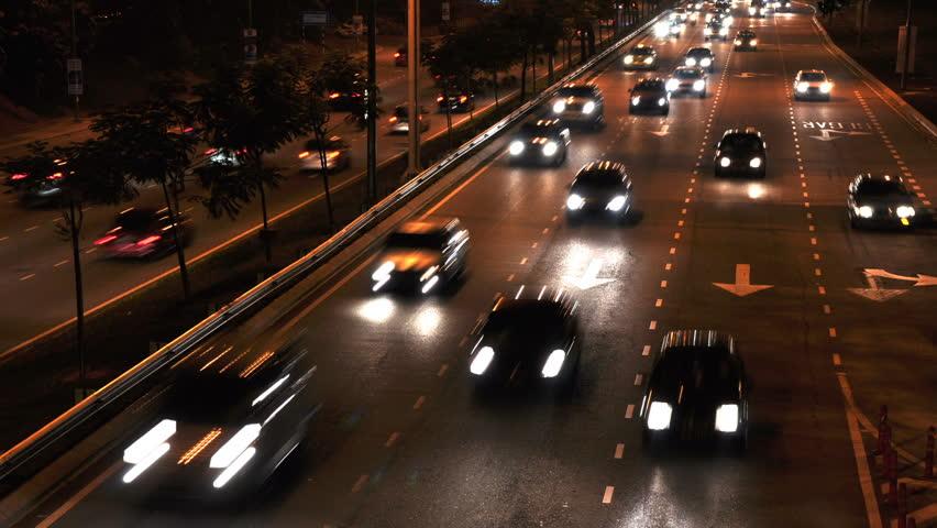 Cars Moving On Busy Roads At Night, Kuala Lumpur, Malaysia