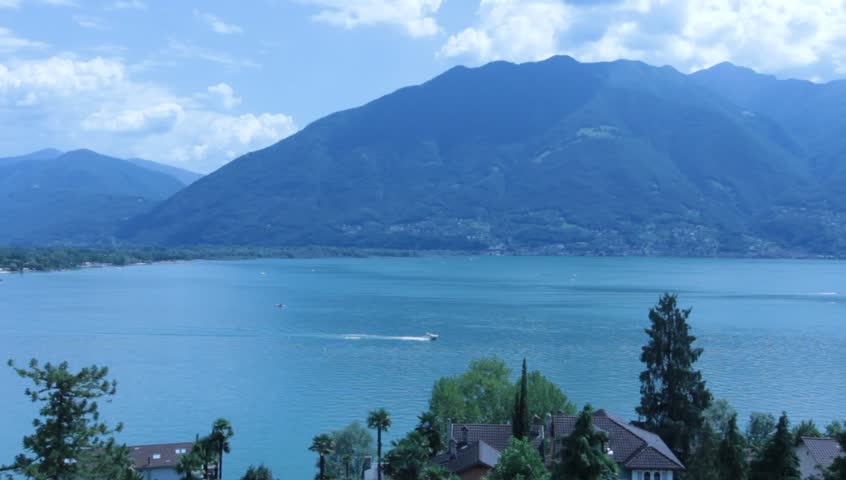 Minusio Switzerland  city photos : Panoramic View Of Lake Maggiore, Minusio, Switzerland Stock Footage ...