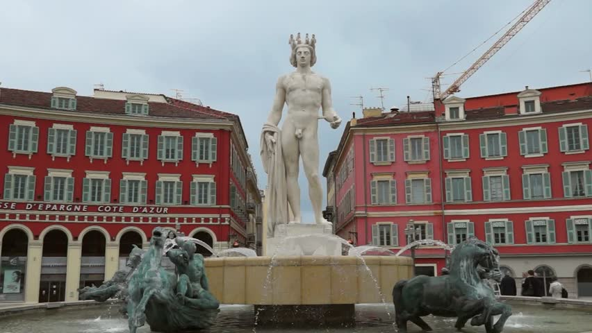 The fontaine du soleil on place massena nice french riviera france stock footage video - Place massena nice ...