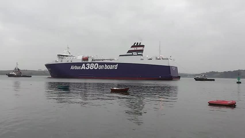 EL ASTILLERO, SPAIN - AUG 23: RORO VILLE DE BORDEAUX at EL ASTILLERO dockyard, 08/23/2013. - HD stock footage clip