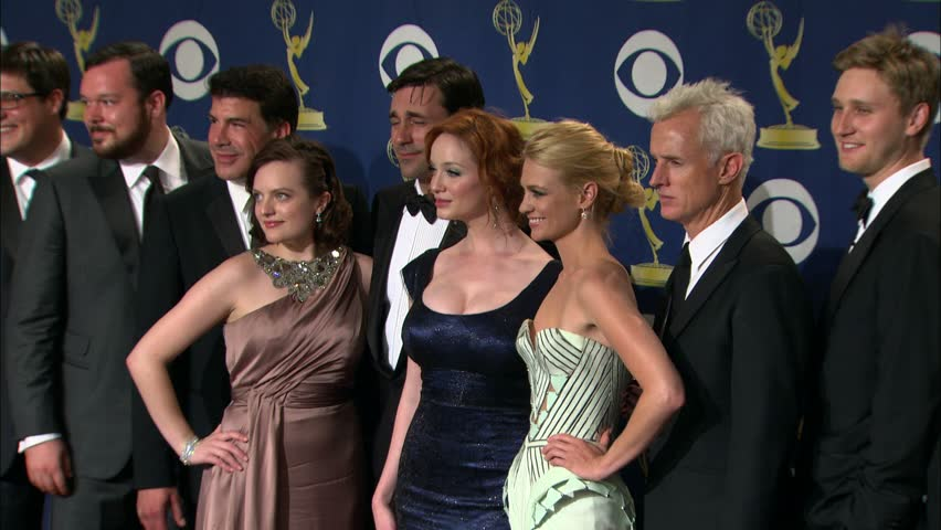 LOS ANGELES - September 20, 2009: The Mad Men cast at the Emmy Awards 2009 Photo Room in the Nokia Theatre in Los Angeles September 20, 2009