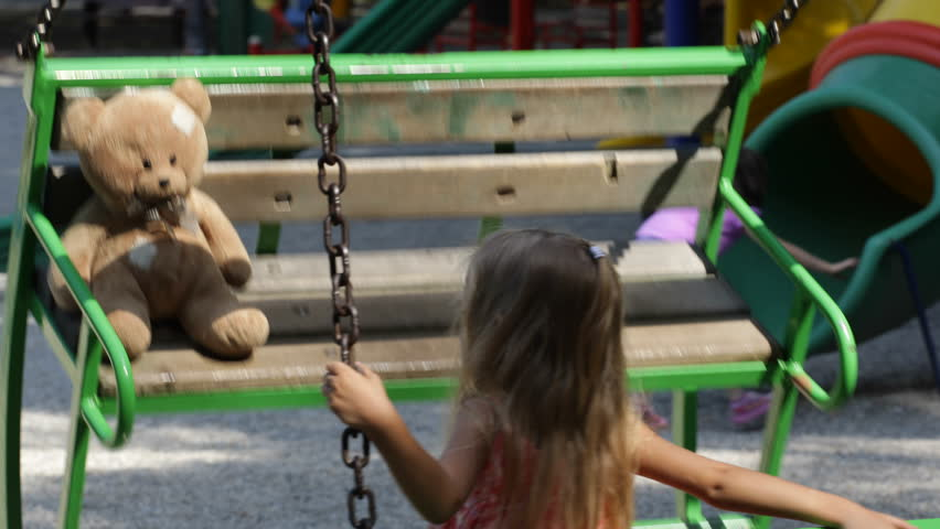 Child Swinging, Girl Playing with Teddy Bear Toy at Playground in Park, Children