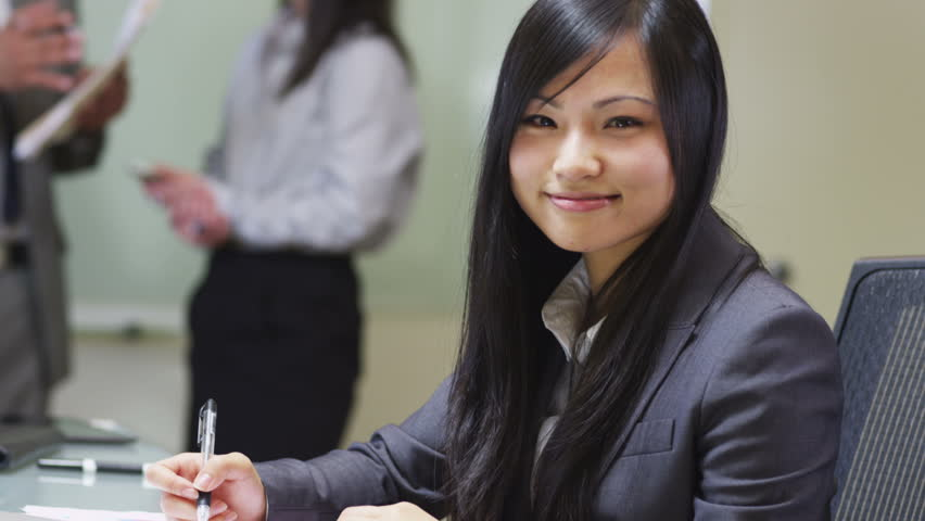 portrait of young asian business woman stock footage video