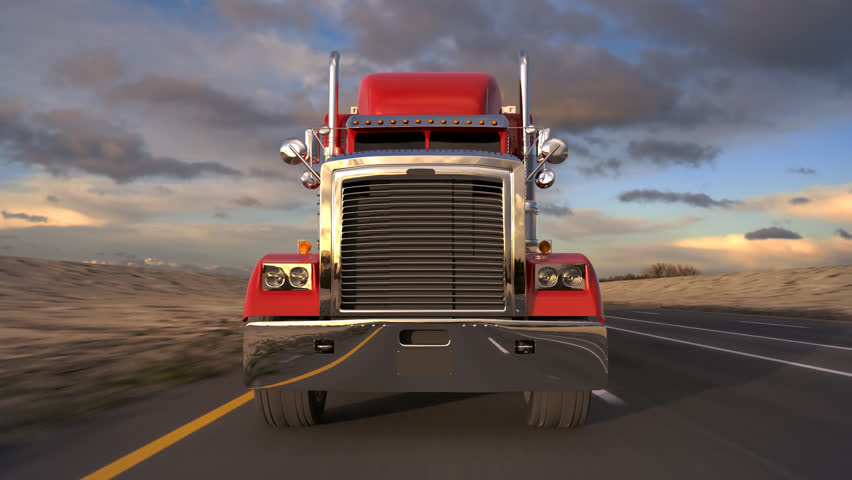 18 Wheel Truck on the road with sunset in the background. Large delivery truck loopable animation.