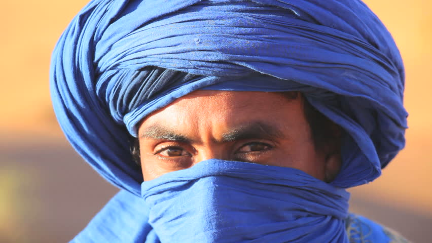 Morocco - April 2011: Male in traditional blue Touareg Headdress in the Sahara Desert in Morocco, Africa in April, 2011